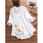Blumendruck Langarm Colorful Button Shirts