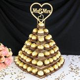 Exposição personalizada do petisco do chocolate Mr & Mrs Coração Sobremesa casamento Sobremesa prateleira de suporte