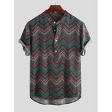 Mens Weave Striped Printed Chevron Stehkragen Kurzarm Loose Henley Shirts