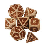 7 Pcs Woodmade Polyhedral Dices Set Role Playing Game Dice Gadget para Masmorras Dragão Jogos Presente