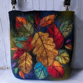 Donna Colorful Leaf DIY Agnello Capelli Borsa Crossbody Borsa Spalla Borsa