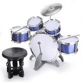 Batteria per bambini Jazz Set di strumenti musicali Strumento educativo 5 batteria 1Cymbal con feci Strumento per percussioni