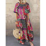 Frauen lose Kurzarm O-Ausschnitt Seitentaschen gedruckt Kleid