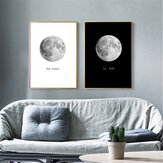 Pinturas de lienzo abstractas Luna en blanco y negro Imprimir Home Room Wall Picture Art Decor