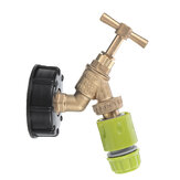 S60x6 IBC Faucet Tank Drain Coarse Thread Adapter to Brass Garden Tap with 1/2'' Nozzle Hose Tap Connector Replacement Valve Fitting Parts for Home Garden