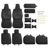 الفاخرة العالمي الأسود سيارة 5 مقعد بو الجلود الجبهة + غطاء مقعد المقعد الخلفي