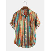 Mens Cotton Colorful Striped Pocket Short Sleeve Shirts