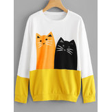 Cartoon Cat Print Patchwork Long Sleeve Sweatshirt