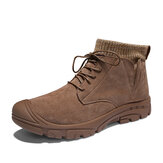 Men Retro Wear Resistant Outdoor Hiking Leather Ankle Boots