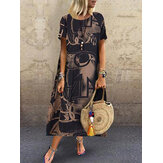 Women Floral Printed Loose Short Sleeve Side Pockets Dress