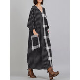 Women V Neck Stripe Plaid Long Sleeve Vintage Maxi Dress