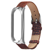 Metal Case Weave Texture Leather Watch Band Watch Strap Replacement for Xiaomi Miband 4 Non-original