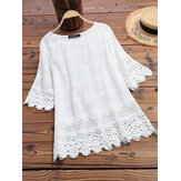 Women Pure Color Embroidery Hollow Half Sleeve Blouse