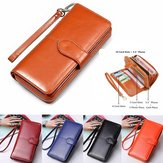 Vintage Women Men Leather Long Wallet Card Holder Clutch Purse Handbag Phone