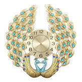 3D Crystal Luxury Peacock Clock Creative Modern Art Decorative Clock Mute Wall Quartz Clock