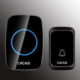 CACAZI 1 Empfänger 1 Sender EU-Stecker 300M Fernbedienung LED Anzeige Drahtlose wasserdichte Wechselstrom-Türklingel