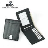 Carteira de carteira de carteira de grãos de fibra de carbono dos homens RFID Clipe de dinheiro para titular de cartão de identificação de bloqueio