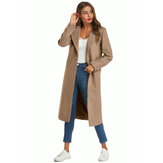 Women Winter Daily Casual Woolen Coats