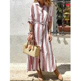 Women Striped Turn-Down Collar Button Down Long Sleeve Dress
