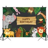 5x3FT 7x5FT 9x6FT Happy Birthday Jungle Elephant Panda Photography Backdrop Background Studio Prop