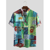 Mens National Floral Printed Cotton Half Sleeve Shirts