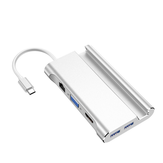HOWEI HW-TC20 Type-C 7 in 1 USB Hub 5Gbps USB3.0 USB-C PD Charging HD VGA 4K Display with 1000Mbps Network Port Extender Extension Connector
