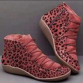 Frauen Plus Größe Wildleder Leopard Grain Comfy Casual Knöchel Stiefel