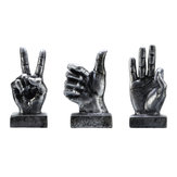 OK/Victory/Thumb Sign Silver Finger Hand Resin Living Room Table Decorations Ornament