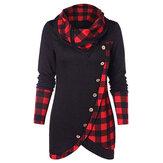 女性チェック柄パッチワーク不規則なボタンスウェットシャツ