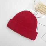 Lã de malha de cor sólida unissex Chapéu