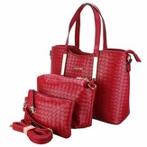 3PCS/SET Women Leather Satchel Handbag Shoulder Messenger Crossbody Bag