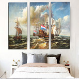 Miico Hand Painted Three Combination Decorative Paintings Sea Vessel Wall Art For Home Decoration