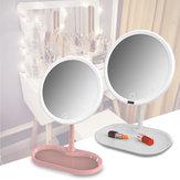 Lustro do makijażu LED 7/8 cala z funkcją ładowania, ściemnianiem LED i tacą do przechowywania kosmetyków