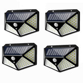 4 piezas 100 LED Solar Powered PIR Motion Sensor Aplique al aire libre Jardín Lámpara 3 modos