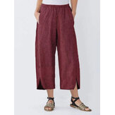Wide Leg Women Striped Elastic Waist Pockets Trousers Pants