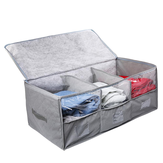 Large Capacity Bamboo Charcoal Non-woven Clothes Organizer Visible Three-grid Clothes Storage Bag