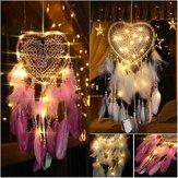 LED Light Dreamcatcher Feather Bedroom Heart Shape Bedroom Home Decoration Livingroom Dreamcatcher Gift Decorations