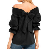 Women Off Shoulder Long Sleeve Bowknot Solid Color Blouse