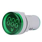 5 pcs Verde ST16VD 22mm Tamanho do Furo 6-100 VDC Voltímetro Digital Detector de Tensão Redonda Tester Mini LED Monitor de Luz Indicadora de Tensão
