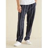 Mens Corduroy Ethnic Stripe Printed Casual Loose Pants