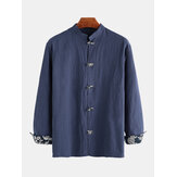 Mens Chinese Style Loose Casual Long Sleeve Shirts