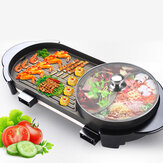 Plus grand 2 en 1 220V Hot Pot four électrique sans fumée Barbecue Machine Shabu Pot