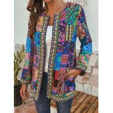 Women Vintage Folk Style Printed Long Sleeve Coats
