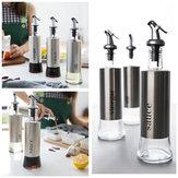 Bouteilles de distributeur d'huile d'olive KCASA 300ML avec entonnoir Bouteilles de distribution de verseur d'huile en acier inoxydable Bouteille de sauce au vinaigre d'huile