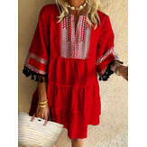 Bohemian Print Patchwork Loose O-neck Casual Dress