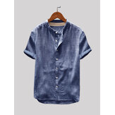 Heren vintage effen kleur single-breasted stand kraag korte mouw losse casual shirts