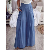 Women High Waist Trousers Casual Loose Wide Leg Pants with Pockets