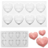 8 Grids Diamond Heart Dessert 3D Cake Mold Art Mousse Silicone Mould
