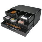 3-warstwowy 4-szufladowy skórzany zestaw biurkowy Szafka na dokumenty Schowek Office Desktop Organizer Szuflada na dokumenty Pojemnik na dokumenty