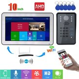 ENNIO 10 Inch Wired / Wireless Wifi RFID Password Video Door Phone Doorbell Intercom Entry System with AHD 720P Wired Camera Night Vision,Support Remote APP Unlocking,Recording,Snapshots